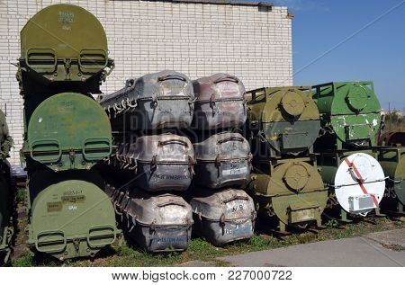 Passenger, they are waiting for you. Buk M1 mobile air defense system missiles containers (grey).Ukraine