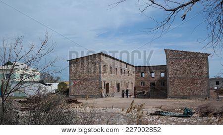 Residential area of former Soviet anti-ballistic missile testing range.West Bank of Balkhash Lake.May 8, 2017.Sary Shagan.Kazakhstan