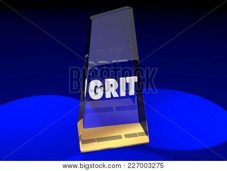 Grit Award Prize Best Trophy 3d Illustration