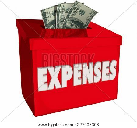 Expenses Money Box Collection Paying Bills 3d Illustration