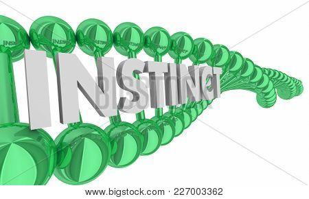 Instinct Word DNA Hereditary Genetic Trait 3d Illustration poster