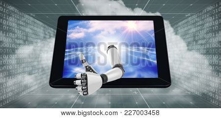 3D Robotic arm showing thumbs up against digitally generated binary code landscape