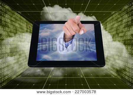 3D Businessman touching invisible screen against shiny blue binary code on black background