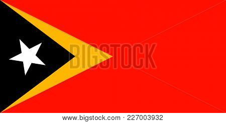 Flag of East Timor. Symbol of Independence Day, souvenir sport game, button language, icon.