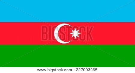 Flag of Azerbaijan. Symbol of Independence Day, souvenir sport game, button language, icon.
