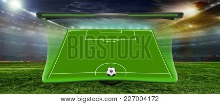 Stadium in the evening in full light before the match. 2018 On the stadium. abstract football or soccer backgrounds