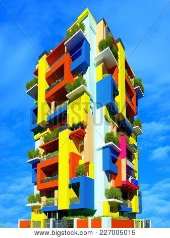 A multicolored skyscraper on a blue background. ,3d render