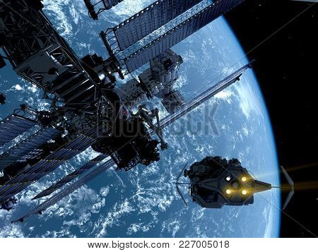 Space station in outer space., 3d render