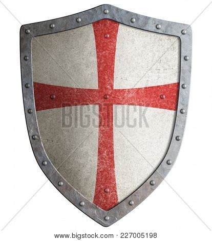 Metal shield of medieval templar or crusader 3d illustration