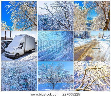 The Icy Road In Winter At Abstract City. The Lot Of Snow Covered Open Truck. Winter Concept. Branche