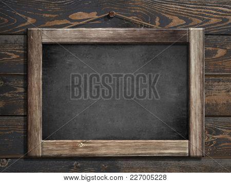 Aged menu blackboard hanging on wooden wall 3d illustration