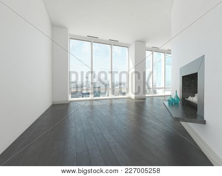 Bare unfurnished angular living room with white walls with a recess and vases and large bright windows over looking a city. 3d Rendering.