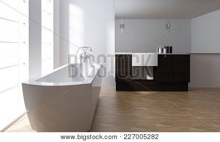 Modern minimalist stylish bathroom interior with white ceramic bathtub and black vanity unit on a parquet floor with large bright windows. 3d rendering