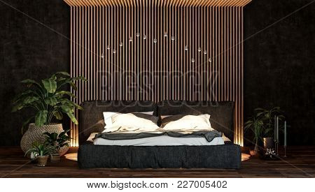Luxury bedroom interior with a queen-size bed in front of a feature textured striped wall lit by up-lighters and houseplants. 3d Rendering.