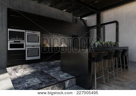 Hipster black modern fitted kitchen in an industrial loft conversion with exposed structural elements, fitted appliances and a bar counter or center island with stools. 3d rendering
