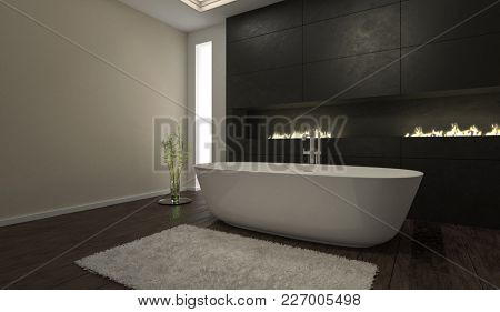 Gloomy modern black bathroom interior with fitted cabinets and a freestanding boat-shaped bathtub with long narrow window in a corner view. 3d Rendering.