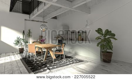Modern rustic dining room interior with wooden beams and a wood and chrome dining suite on a rug lit by sunlight from a large window. 3d rendering