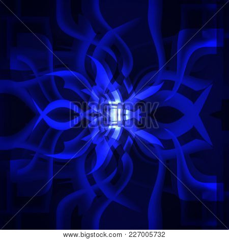 abstract blue twisted squares on a dark background