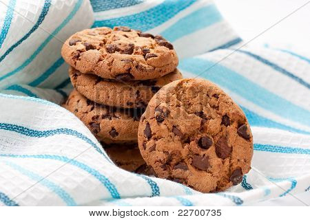 Chocolate Cookies On Blue Napkin