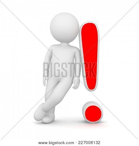 3D Rendering of a man leaning on a red exclamation mark on white background
