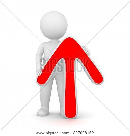 3D Rendering of a man holding a red up arrow on white background