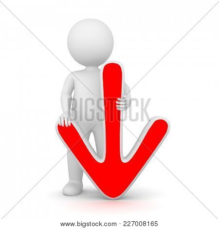 3D Rendering of a man holding a red down arrow on white background