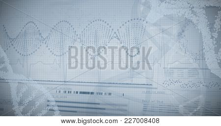 Panoramic view of helix pattern information on device screen against white background