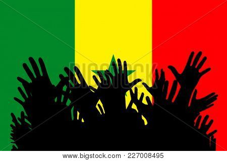 Hands up silhouettes on a Senegal flag. Crowd of fans of soccer, games, cheerful people at a party. Banner, card, poster.