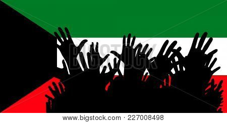 Hands up silhouettes on a Kuwait flag. Crowd of fans of soccer, games, cheerful people at a party. Vector banner, card, poster.
