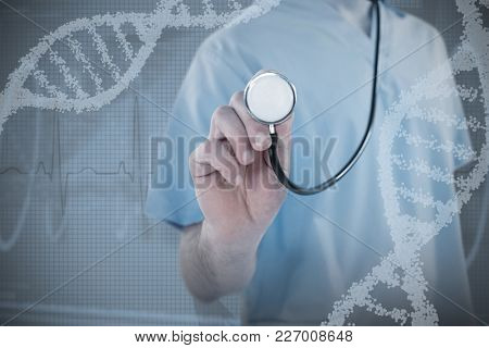 Midsection of surgeon holding stethoscope against blue spiral dna pattern on screen