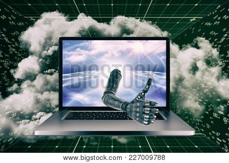 3D Cyborg hand with thumbs up against digitally generated binary code landscape