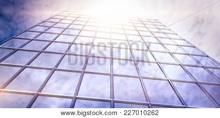 3d Digital generated image of office building against view of blue sky and cloud