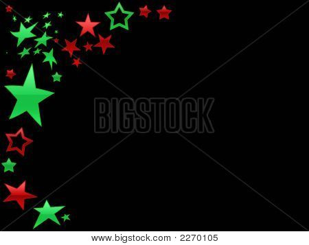 Red and green stars as a page border on Black poster