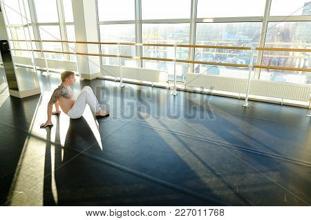 Faculty Of Physical Education Student Diligently Push Up, Handsome Guy In White Trousers Doing Gymna