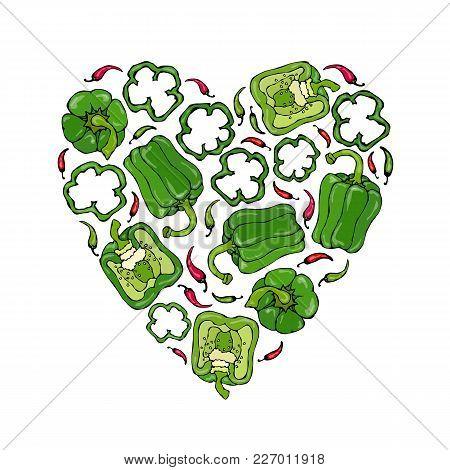 Green Bell Peper Heart Shape Wreath. Half Of Sweet Paprika And Rings Of Pepper Cuts. Fresh Ripe Raw