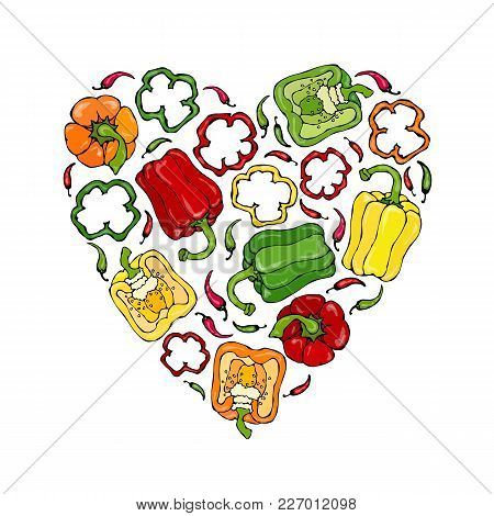 Red, Orange, Yellow, Green Bell Peper Heart Shape Wreath. Half Of Sweet Paprika And Rings Of Pepper