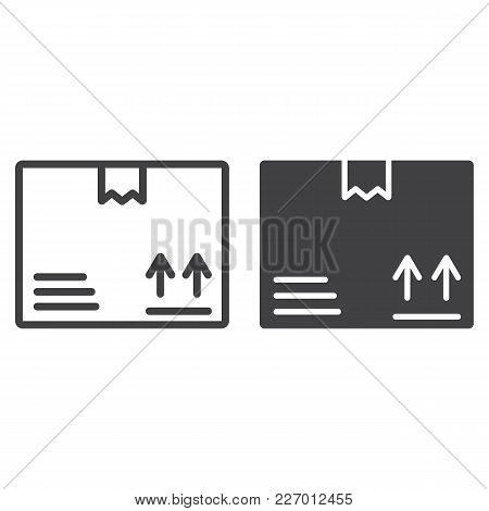Carton Box Line And Glyph Icon, Logistic And Delivery, Cardboard Box Sign Vector Graphics, A Linear