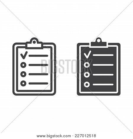 Checklist Line And Glyph Icon, Clipboard And Note, Checkmark Sign Vector Graphics, A Linear Pattern