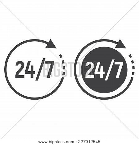 Passage Time Line And Glyph Icon, 24 Hour Assistance And Round The Clock, Sign Vector Graphics, A Li