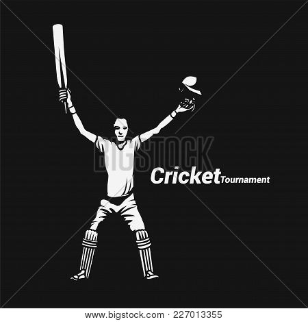 Portrait Of A Cricket Batsman Showing A Stump On Black Background With Typography Vector Illustratio