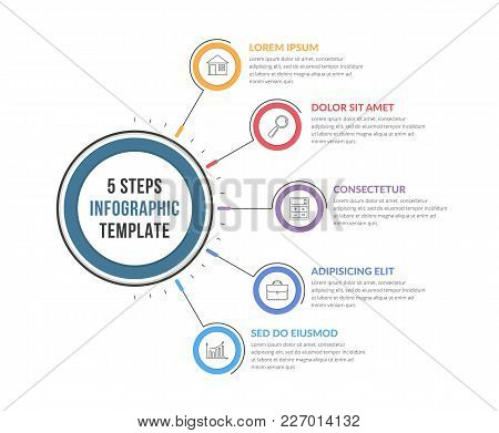 Infographic Template With Five Steps Or Options, Workflow, Process Diagram, Vector Eps10 Illustratio