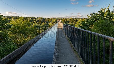View Over The Pontcysyllte Aqueduct Near Trefor In Wrexham, Wales, Uk
