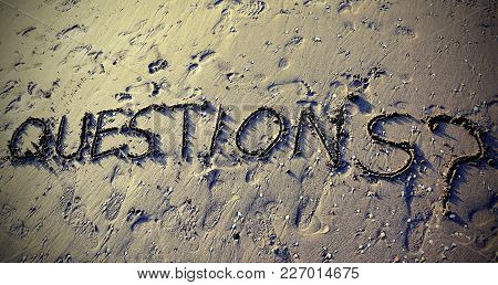 Questions With Question Mark Written On The Sand Can Be Used For The End Of Business Presentations