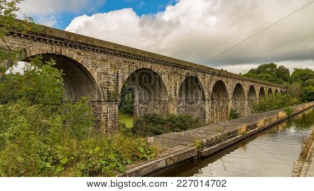 View Over The Chirk Aqueduct & Viaduct, Near Wrexham, Wales, Uk