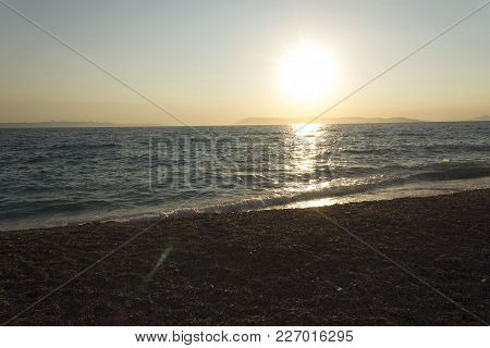 Tucepi, Croatia - August 15 2017:sunset By The Sea Intucepi, Croatia, Nobody Around