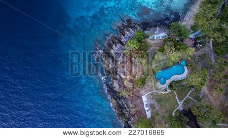 Aerial View Of Of Beautiful Blue Sea Of Natural Traveling Destination