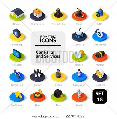 Color Icons Set In Flat Isometric Illustration Style, Vector Symbols - Car Parts And Services Collec