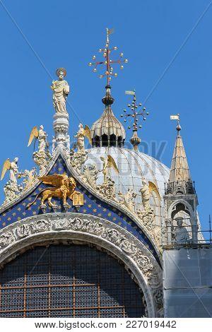Upper Part Of Facade Of San Marco Basilica In Venice, Italy