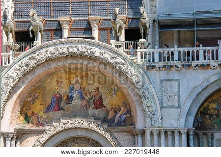 Venice, Italy - August 13, 2016: Tourists Walking On Gallery Of Of San Marco Basilica
