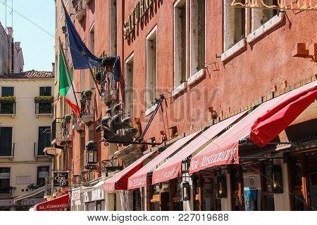 Venice, Italy - August 13, 2016: Facade Of Saturnia International Hotel (san Marco)